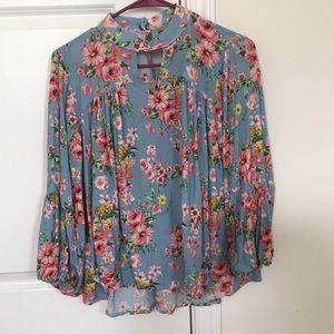 Floral Blouse with full bubble sleeves